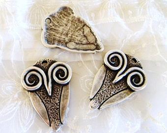 Large Owl Pendant, Necklace Owl Pendant, Antique Silver, Animal Pendant, Bird Pendant, Boho Pendant 40x29mm - 1 piece