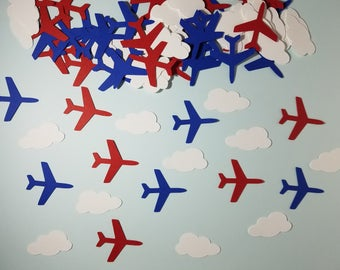 Airplane and Clouds Confetti  Red, White and Blue - Set of 100 - Ariplane Party, Aviation, Clouds, Handmade, Paper, Party Decor