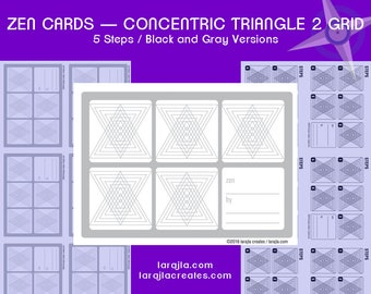 Zen Design Cards, Concentric Triangle 2, 5 Steps  - printable, ATC, 2.5 x 3.5, printable atc, 2 pages, Zendoodle, Zentangle, PDF