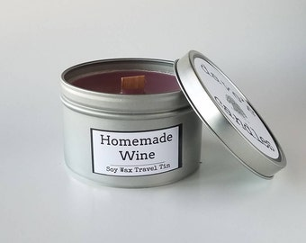 Homemade Wine Soy Travel Tin with Wood Wick