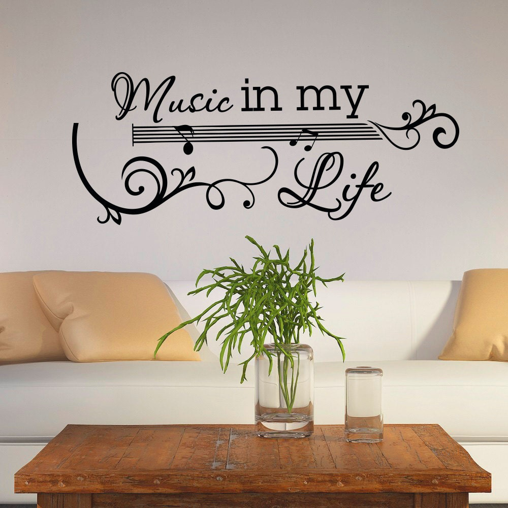 Life Wall Quotes Guitar Wall Decal Music Vinyl Lettering Wall Decals Quotes