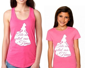 Spring Sale Matching Mother and Daughter Disney Shirts with Belle from Beauty and the Beast Tale as Old Time Quote in Hot Pink - Tank Top an