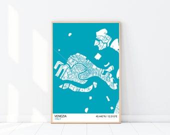 Venice Map Print, Custom Map Print, Street Map, Wall Art, Venice Map Poster, City Map Print, Housewarming, Graduation