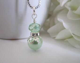 Mint Green Bridesmaid Necklace Wedding Bridal Party Spring Wedding