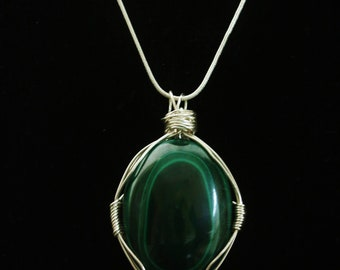 Custom made Malachite crystal wire wrapped necklace
