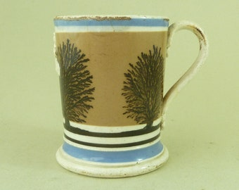 Victorian Mochaware Half Pint Beer Mug Crown Imperial Pottery Tankard Antique
