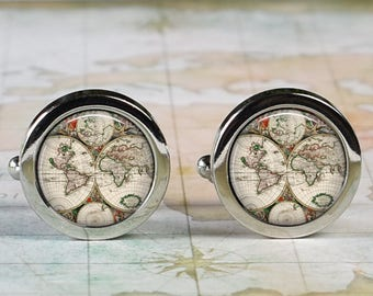 Antique World cuff links, World map cufflinks wedding gift anniversary gift for groom groomsmen gift for best man Dad Father's Day gift