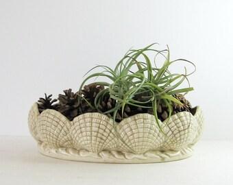 Vintage Ceramic Shell Bowl - Oval Serving Dish - Ceramic Planter - Console Bowl - Valet Tray - Beach Cottage Home Decor - Ceramic Fruit Bowl