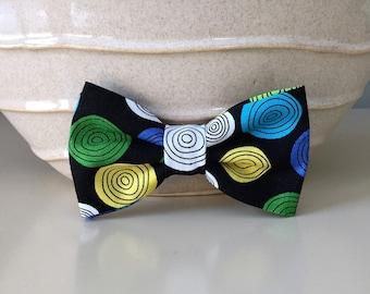 Dog Bow / Bow Ties - Black w Colorful Retro Circles