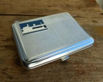 Vintage metal cigarette case / cigarette case / Card Holder / card case / Metal Wallet enamel decor