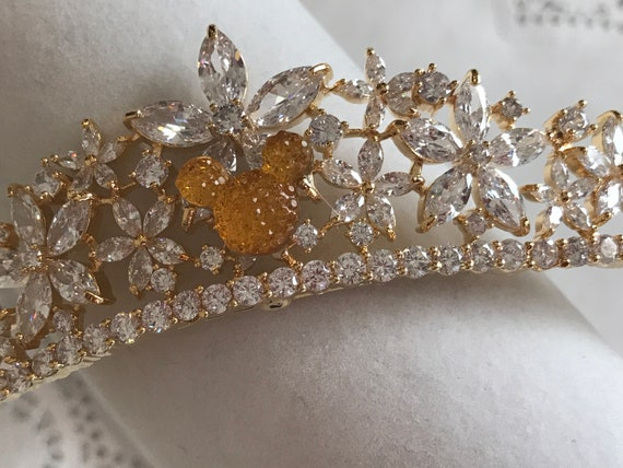 Golden Tiara-Hidden Mickey Inspired-Disney Themed Wedding-Bride To Be Shower Gift