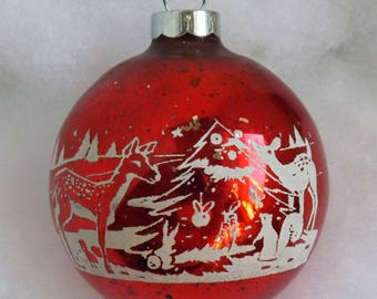 Vintage rare Christmas ornament, red glass ornament, Christmas tree, mercury glass ornament, stencil ornament, deer and woodland animals