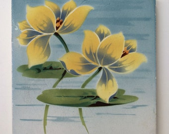 Art Nouveau TileLily Pad with Lotus Flower - Saint Amand Nord & Hamage