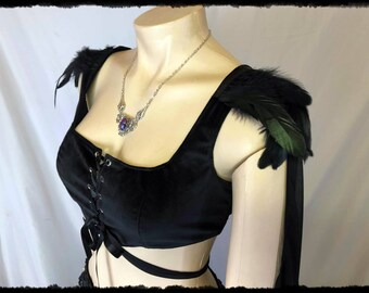 Black Velvet Cosplay Top with Feathers and Shoulder Drapes, Size Medium - Ready to Ship - Sansa Goddess Gothic Vampire Raven Huntress Voodoo