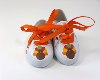 Turkey Shoes, Thanksgiving Sneakers, Autumn or Fall Shoes, Hand Painted for Baby or Toddlers