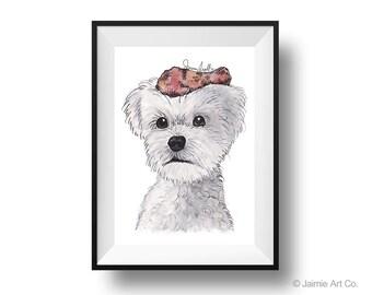 Dog Art Print - Maltese and Chicken, Childrens Art, Kids Wall Art, Frameable Art, Animal Wall Art, Dog Art, Dog Portrait, Pet Art