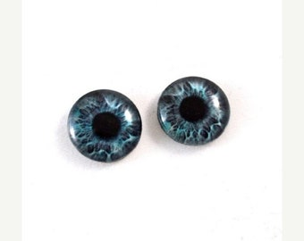 SALE 16mm Blue Fantasy Glass Eye Cabochons - Evil Eyes for Doll or Jewelry Making - Set of 2