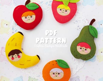 Kawaii Fruit Babies PDF Pattern. Digital Pattern. Felt Soft Toy Pattern.
