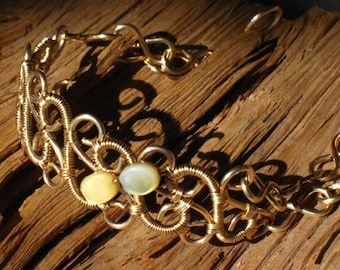 Red Brass Scroll Link Bracelet Cuff with Gold Lip Shell 7.75 Inches~Hand Made~Looks Like Gold