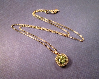 Cubic Zirconia Necklace, Olive Green Pendant Necklace, Gold Chain Necklace, FREE Shipping U.S.