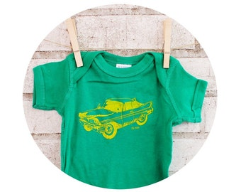Classic Car Onepiece Baby Bodysuit, Short Sleeved One Piece, Kelly Green and Yellow Cotton Infant Clothing Baby Boy Shower Gift Screen-Print