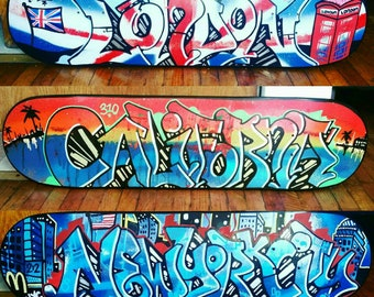 Custom painted graffiti street art skateboard deck - perfect gift idea for a friend, loved one or yourself - FREE SHIPPING