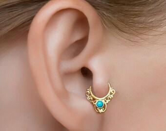 Rose gold tragus. 20g daith hoop. 20 gauge daith ring. tragus piercing. Indian earring.