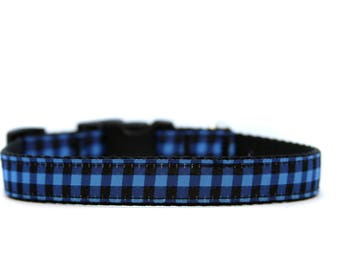 5/8 or 3/4 Inch Wide Dog Collar with Adjustable Buckle or Martingale in Electric Blue Buffalo Plaid