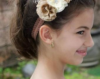 Flower Headband, Beautiful Headband, Baby Headband, Girls HairClip, Beige Flower