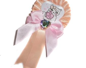 Fancy Feline Heart Rosette Badge ~ Peach