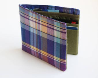 Mens wallet, Wallet, Billfold, Vintage Upcycled Fabrics, Purple plaid, Handmade by Knotted Nest on Etsy