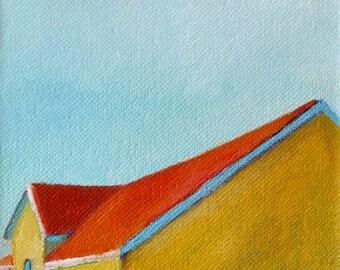 Modern Yellow Barn Signed Print of Original Oil Painting