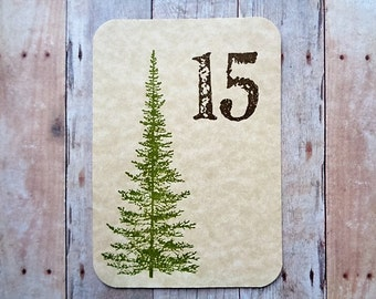 Rustic Wedding Table Numbers Pine Tree Number Cards Mountain Country Woodland Table Decor
