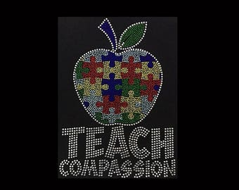 """Autism, Teach Compassion (10x7.25"""") Rhinestone Bling T-Shirt Personalize Customize"""