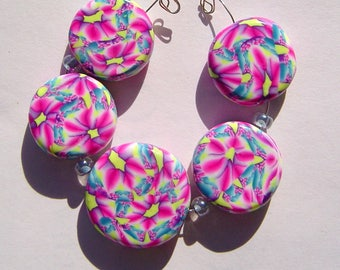 Pink Passion Artisan Polymer Clay Bead Set with Focal and 4 Beads