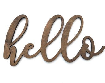 Large Hello Wood Word Cutout, Laser Cut Word, Front Door Decor, Scroll Cut Word Front Porch Hello Welcome Sign