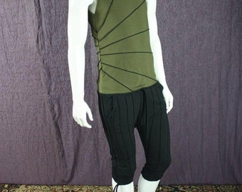 NEW!!!  Mens tank top, sun burst stripe in Green Oranic Cotton and Soy Fabric
