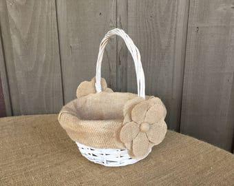 Flower girl basket/ flower girl/farmhouse basket/ burlap lined basket / burlap flower girl basket/ wedding basket/ rustic flower girl basket