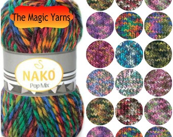 NAKO POP MIX bulky yarn, wool yarn, knitting wool yarn, winter yarn, super bulky ran, scarfs, hats, multicolor yarn,