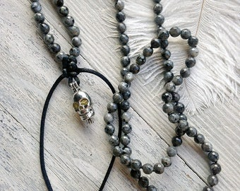 Labradorite necklace / Long skull necklace / Gemstone necklace / Long beaded necklace / Black necklace