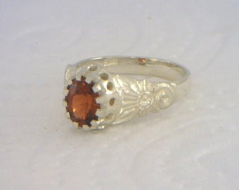 Red Garnet Flower of Angels Handmade Sterling 925 Silver Ladies Ring size 7
