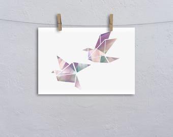 A3 Geometric Birds Nursery Print