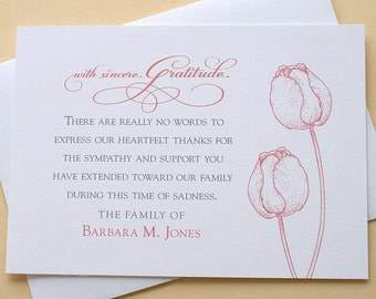 """Funeral Thank You Cards with 2 Burgundy or 2 Purple Tulips - FLAT Cards - 4-7/8"""" x 3-1/2"""""""