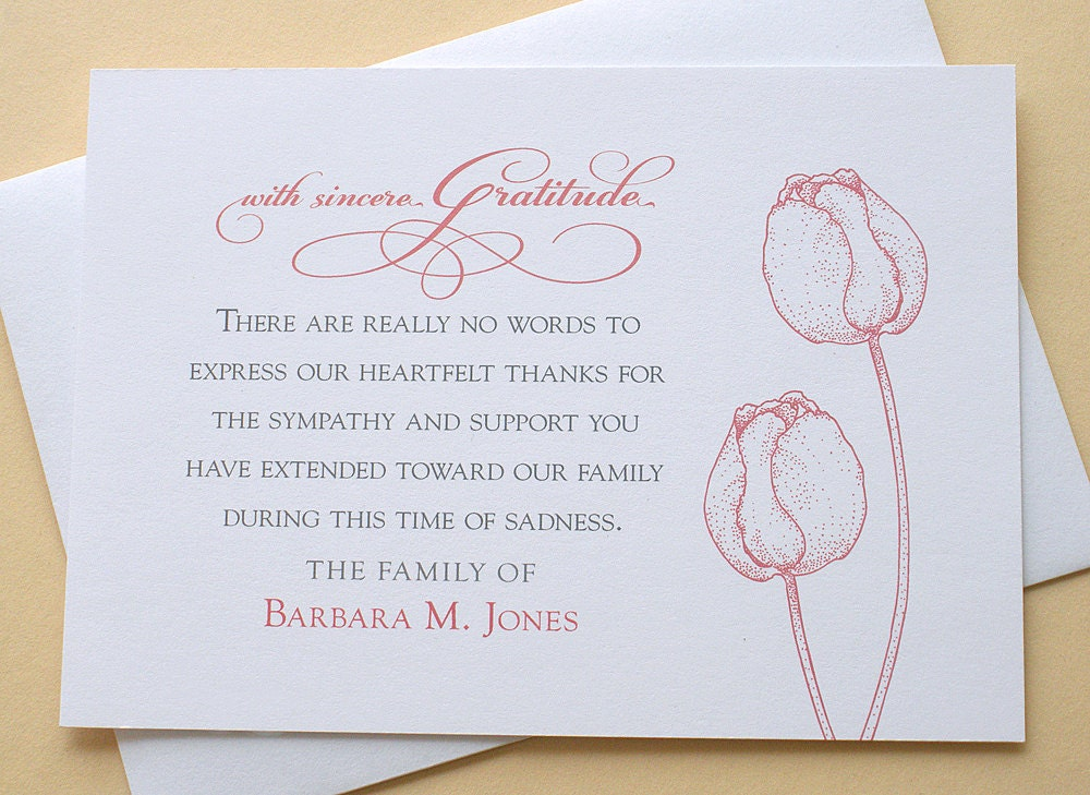 Funeral thank you cards with 2 burgundy or 2 purple tulips zoom altavistaventures Images