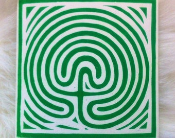 Labyrinth Linocut Hand Printed on Recycled Card
