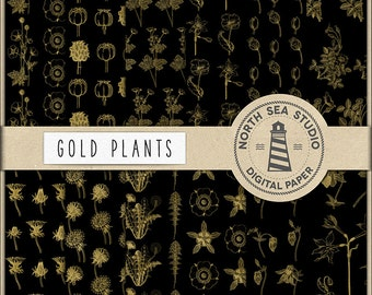 GOLD FIELDS, Plants Digital Paper, Gold Wildflower Patterns, Flower Plants, Printable Scrapbooking Papers, Instant Download, BUY5FOR8