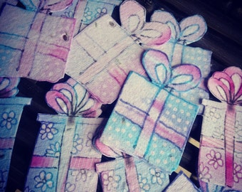 Seed Paper Present Birthday Shower Wedding Favors - 50 seed paper presents