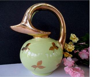 Ball Pitcher Vase * Miniature Jug Vase * Gold Gilt * Integrated Handle Design * Small Vase