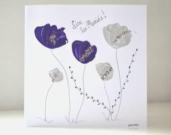 carte mariage peinte à la main, carte mariage romantique violet/argent, carte mariage faite main, carte d'art