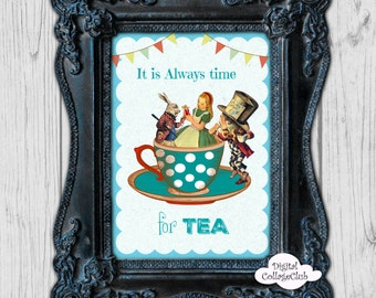 Alice in Wonderland Tea Time Party Wall Art Decor Print Illustration Wall Hanging Alice in Wonderland Party Alice White Rabbit Tea Party